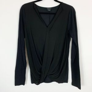 Theory Blouse Women's Large Black Silk Cotton Blen